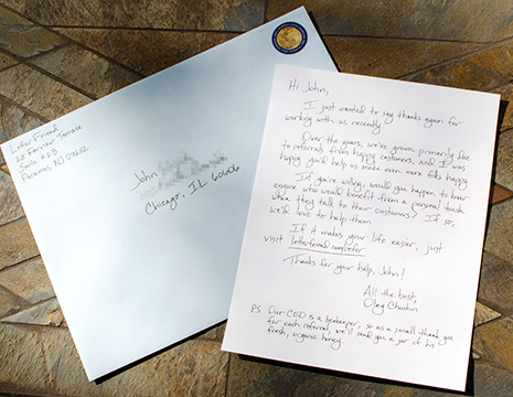 Handwritten letters earn leads via referral